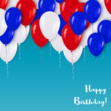 Realistic 3d White Red Blue Mettallic Balloons Flying for Party and Celebrations.T Stock Photography