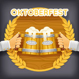 Realistic 3d Wooden Beer Mug Foam Poster Transparent Background Icon Template Mockup Design Vector Illustration Stock Images