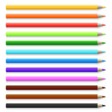 Realistic 3d wooden colored pencils isolated on white vector illustration. Set of pencil colorful for school Royalty Free Stock Photography