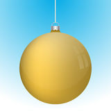 Realistic 3D yellow christmas ball decoration hanging. On white chain. Rounded gold ball decoration with several reflections on blue to white gradient backdrop Stock Images