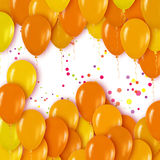 Realistic 3d Yellow Gold Balloons Flying for Party and Celebrations Stock Images