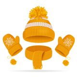 Realistic 3d Hat with a Pompom, Scarf and Mitten Set. Vector. Realistic 3d Yellow Hat with a Pompom, Scarf and Mitten Set Knitted Seasonal Winter Traditional Stock Photos