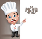 Realistic 3D Young Friendly Professional Chef Cook Character. In Restaurant Uniform Happy Presenting Menu for Today White Space for Message. Vector Illustration stock illustration