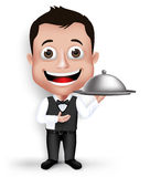 Realistic 3D Young Friendly Professional Waiter. In Formal Attire Happy Serving Food in Restaurant  in White Background. Vector Illustration Royalty Free Stock Photography