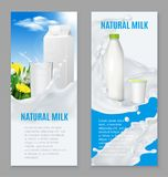 Realistic Dairy Products Banners. Realistic dairy products including natural milk and yogurt set of vertical blue white banners isolated vector illustration Royalty Free Stock Photography