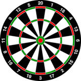 Realistic Dart Board. Isolated on White Stock Photos