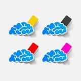 Realistic design element: brain, rectangle, seam Royalty Free Stock Image