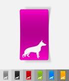 Realistic design element. german shepherd. German shepherd paper sticker with shadow. Vector illustration Stock Images