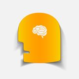 Realistic design element: head face brain Royalty Free Stock Image