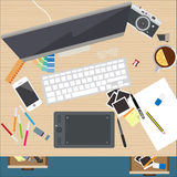 Realistic Designer workspace. Vector for your ideas Stock Photo