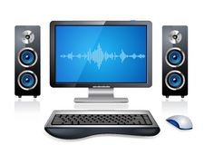 Realistic Desktop Computer. With speakers and mouse Stock Photo