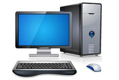 Realistic Desktop Computer Stock Photography