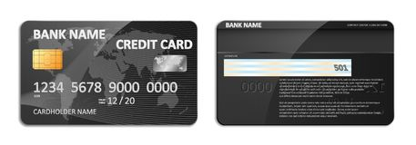 Realistic detailed black bank credit card with world map abstract design isolated. Credit plastic card with bank. Personal cardholder name. Vector illustration Stock Image