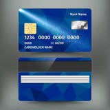 Realistic detailed credit card with abstract geometric blue design isolated on white background. Vector illustration Royalty Free Stock Image