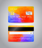 Realistic detailed credit card. S set with colorful abstract triangular design background. Front and back side template. Money, payment symbol. Vector Stock Photography