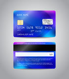 Realistic detailed credit card. S set with colorful blue abstract design background. Front and back side template. Money, payment symbol. Vector illustration Stock Photo