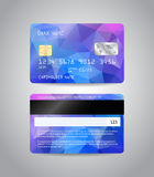 Realistic detailed credit card. S set with colorful blue abstract triangular design background. Front and back side template. Money, payment symbol. Vector Royalty Free Stock Images
