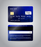 Realistic detailed credit card. S set with colorful blue abstract triangular design background. Front and back side template. Money, payment symbol. Vector Royalty Free Stock Photos