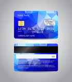 Realistic detailed credit card. S set with colorful blue abstract triangular design background. Front and back side template. Money, payment symbol. Vector Stock Photos