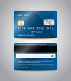 Realistic detailed credit card. S set with colorful blue abstract triangular design background. Front and back side template. Money, payment symbol. Vector Stock Photography