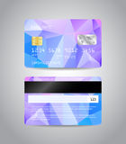 Realistic detailed credit card. S set with colorful blue abstract triangular design background. Front and back side template. Money, payment symbol. Vector Royalty Free Stock Photo