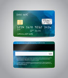 Realistic detailed credit card. S set with colorful blue and green abstract triangular design background. Front and back side template. Money, payment symbol Stock Image