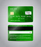 Realistic detailed credit card. S set with colorful green abstract triangular design background. Front and back side template. Money, payment symbol. Vector Stock Photos