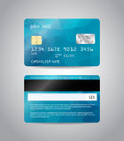 Realistic detailed credit card. S set with colorful light blue abstract triangular design background. Front and back side template. Money, payment symbol. Vector Royalty Free Stock Photos
