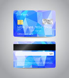 Realistic detailed credit card. S set with colorful light blue abstract triangular design background. Front and back side template. Money, payment symbol. Vector Stock Photo