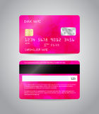 Realistic detailed credit card. S set with colorful pink abstract triangular design background. Front and back side template. Money, payment symbol. Vector Stock Photography