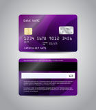 Realistic detailed credit card. S set with colorful purple abstract design background. Front and back side template. Money, payment symbol. Vector illustration Stock Photography