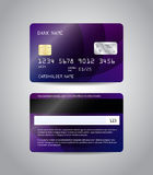 Realistic detailed credit card. S set with colorful purple abstract design background. Front and back side template. Money, payment symbol. Vector illustration Royalty Free Stock Photos