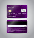 Realistic detailed credit card. S set with colorful purple abstract triangular design background. Front and back side template. Money, payment symbol. Vector Royalty Free Stock Photography
