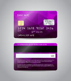 Realistic detailed credit card. S set with colorful purple abstract triangular design background. Front and back side template. Money, payment symbol. Vector Royalty Free Stock Photos
