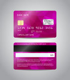 Realistic detailed credit card. S set with colorful purple and pink abstract triangular design background. Front and back side template. Money, payment symbol Stock Photos