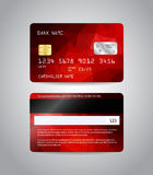 Realistic detailed credit card. S set with colorful red abstract triangular design background. Front and back side template. Money, payment symbol. Vector Royalty Free Stock Photos
