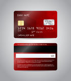 Realistic detailed credit card. S set with colorful red abstract triangular design background. Front and back side template. Money, payment symbol. Vector Stock Images