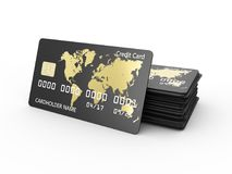 Realistic detailed credit cards 3d illustration design Royalty Free Stock Image