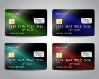 Realistic detailed credit cards set. With black design background with green, blue, turquoise, red waves. Vector template EPS10 Stock Photos