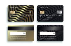 Realistic detailed credit cards set with colorful abstract design background. Credit debit card mockup.  VIP design vector illustration