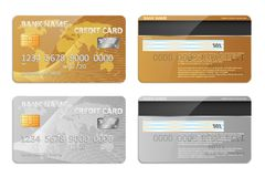 Realistic gold and silver bank credit card template isolated. Bank plastic credit card mockup with abstract design and. Realistic detailed credit cards set with Royalty Free Stock Photography
