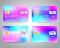 Realistic detailed credit cards. Set with colorful abstract trendy color gradinet hologram effect design background. Blue, purple, pink colors. Vector Royalty Free Stock Photography