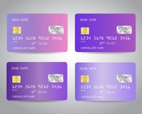 Realistic detailed credit cards set with colorful abstract trendy lavender color gradient. Design background. Pink, purple, violet, lilac, lavender colors royalty free illustration