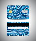 Credit cards with colorful blue abstract design. Realistic detailed credit cards set with colorful blue abstract design background with waves. Front and back Stock Photo