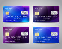 Realistic detailed credit cards set. With colorful blue, purple triangular design background. Vector template EPS10 Stock Image