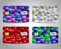 Realistic detailed credit cards set Royalty Free Stock Photo