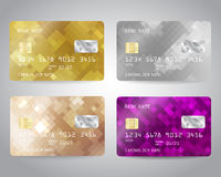 Realistic detailed credit cards set Stock Photography