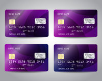 Realistic detailed credit cards set Royalty Free Stock Images