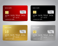 Realistic detailed credit cards set Stock Image