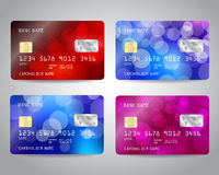Realistic detailed credit cards set Stock Photos